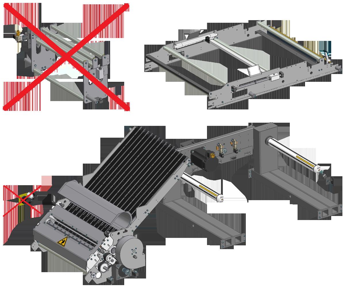 ZF010009/10 - Grupo zona de corte con cuchilla motorizada para simple, doble y triple pista, incluyendo rodillos tensores (Balancín) y porta bobinas accionado por servomotor.